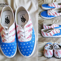 Custom American Flag Vans Authentic Canvas Sneakers / braided stripes
