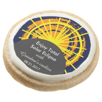 Total solar eclipse funny customizable round shortbread cookie