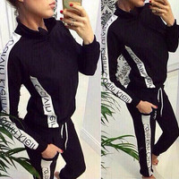 """Calvin Klein"" Print Hoodie Top Sweater Pants Sweatpants Set Two-Piece Sportswear"