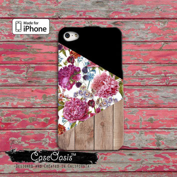 Wood Print Vintage Floral Wallpaper Triangle Flowers iPhone 4 Case and iPhone 5/5s/5c Case and iPhone 6, 6 Plus, 6s, 6s Plus + Wallet Case
