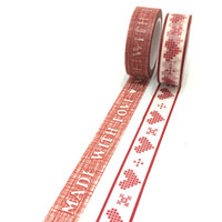 Washi tape set: Made with love in red / Packaging & wrapping tape/