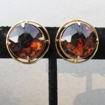 Signed Accessocraft Root Beer Rhinestone Vintage Button Earrings