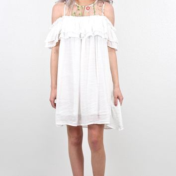 Ruffled Open Shoulder + Embroidered Mesh Dress {Off White}