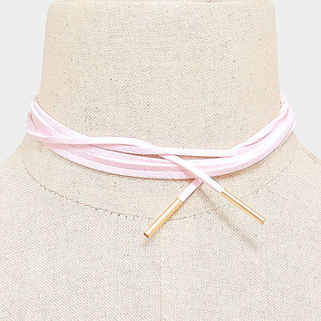 Long Gold & Pink Suede Tie Choker Necklace