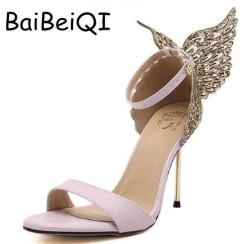 Explosion Models 2017 New Fashion Valentine Shoes Bronzing sequins Butterfly High Heel