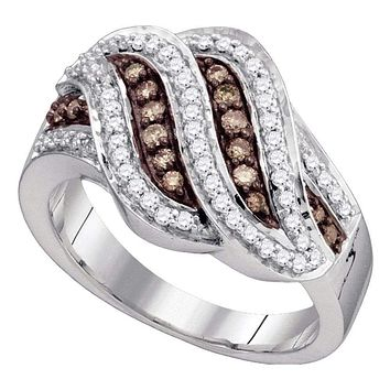 10kt White Gold Women's Round Cognac-brown Color Enhanced Diamond Band Ring 1/2 Cttw - FREE Shipping (US/CAN)