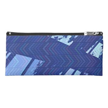 Blue Chevron Window Pencil Case