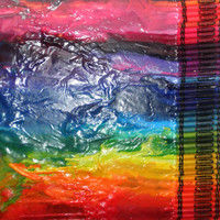 "On SALE Melted crayon art, rainbow colors, 15"" X 17.5"""