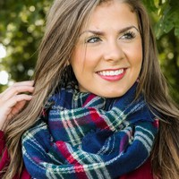 Autumn Nights Plaid Infinity Scarf-Navy