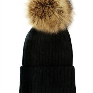 Fox Fur Pom Pom Beanie, Vintage Knit Hat - Black & Tan