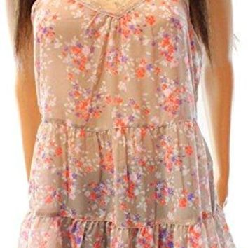 Wild Pearl Women's Tan Sheer Floral Print Cami Spaghetti Strap Blouse Top Size Small