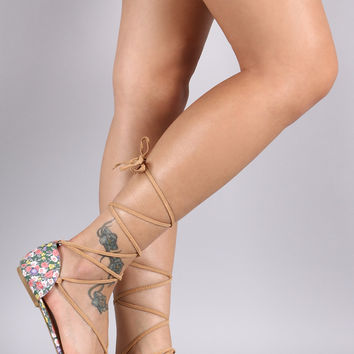 Qupid Suede Floral Lace Up Pointy Toe Flat