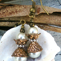 Pearl and Antique Bronze Earrings Antique Gold Antique Silver Tri Tone Earring