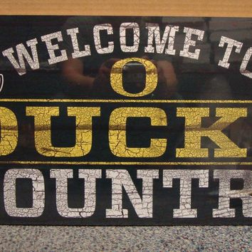 "OREGON DUCKS WELCOME TO DUCKS COUNTRY WOOD SIGN 13""X24'' NEW WINCRAFT"
