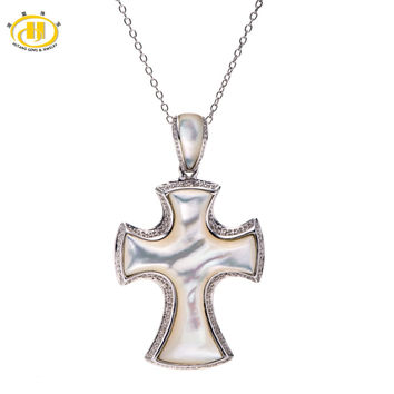 unique mother of pearl solid 925 sterling silver cross pendant necklace free chain fine