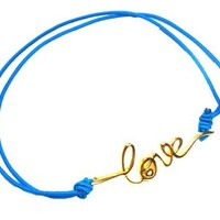 Electric Blue bracelet Accentuated by a Vermeil cz LOVE charm