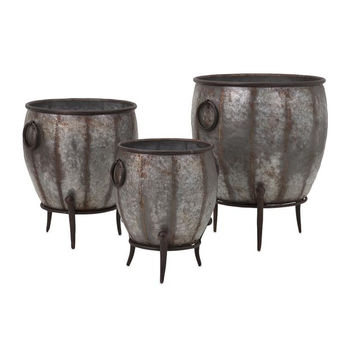 Alluring Mureilene Galvanized Planters - Set of 3 by IMAX