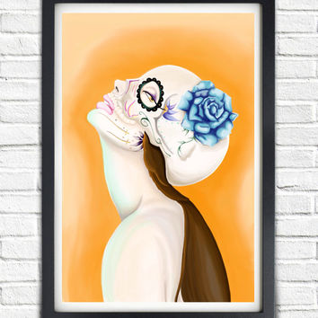 Day of the Dead Mask Skull Art // Skeleton Princess // Dia De Los Muertos Poster Print