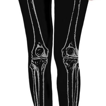 Dark, black and gray skeleton legs, bones pattern leggings, Halloween party style girls clothing