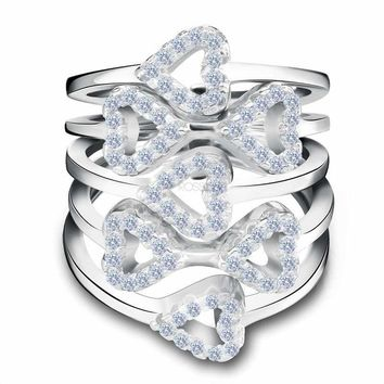 5 Pieces Ring Connected  Heart Shape Ring Set