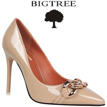 Bigtree Shoes Brand Women's Chain Pumps Pointed Toe Stiletto Thin Heel High Heels Office Lady Shoes Woman Valentine Pumps Silver