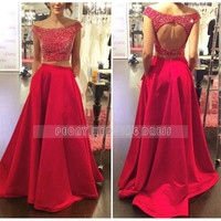 RM27 Red Satin Prom Dresses 2016 Two Piece Prom Dress Beaded Keyhole Back Cap Sleeve Boat Neck Women Ball Gown Prom Dresses