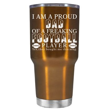 TREK Proud Dad of a Football Player on Copper 30 oz Tumbler Cup