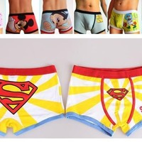 "Sexy Man's Cartoon Yellow Superman Boxers Briefs Trunks Underwear Boyshorts Size L Waist Size 26.5""-30.5"""