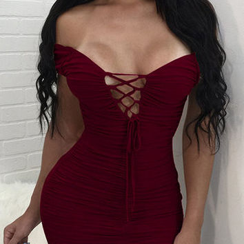 Burgundy Lace-Up Off Shoulder Ruched Bodycon Dress