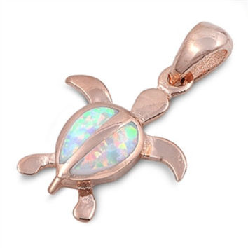 "Sterling Silver Lab White Opal Rose Tone Sea Turtle Pendant 20MM (Free 18"" Chain)"