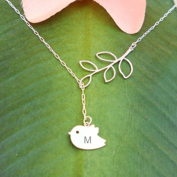 Personalized Initials - Matte Silver Baby Bird Skylark With Branch  Lariat Necklace, handmade jewelry