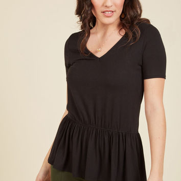 Just Effortless Top in Black | Mod Retro Vintage Short Sleeve Shirts | ModCloth.com