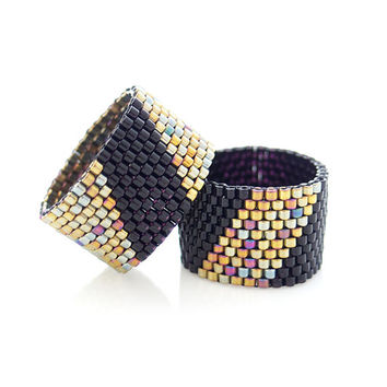 Beaded Black Ring with Gold Geometric Stripe for Men and Women 50% Clearance Sale