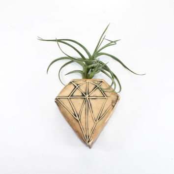 Peach Diamond Geometric Magnetic Clay Bud Vase | wall pocket holds water flower air plant pen holder | home garden decor | in stock