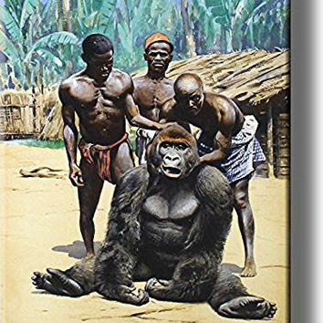 Villagers and Gorilla Picture on Stretched Canvas, Wall Art Decor, Ready to Hang!