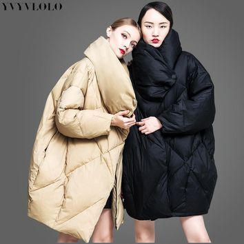 YVYVLOLO European high collar design women's winter jacket 2017 New Listing Parkas female winter coat Fashion Loose winter coat