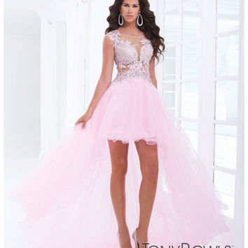 (PRE-ORDER) Tony Bowls 2014 Prom Dresses - Pink Rhinestone Cap Sleeve Open Back Tulle High-Low Gown