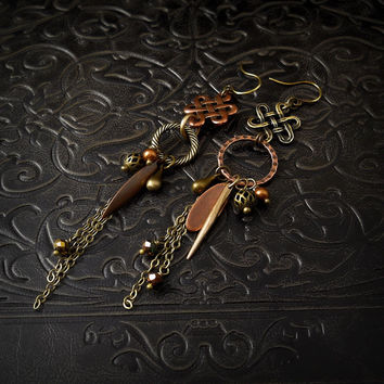 Knot and Dagger OOAK Celtic Tribal Assemblage Earrings, Long Rustic Mixed Metals Dangle Earrings, Romantic Bohemian Gypsy Charm Earrings