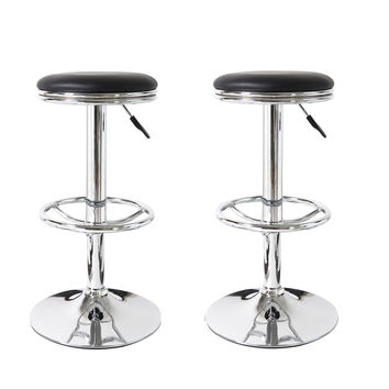 Adeco Black Round Hydraulic Lift Adjustable Swivel Barstool with Leather Look Chrome Accents Pedestal Base (Set of two)