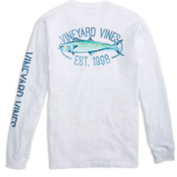 Vineyard Vines Long Sleeve Clean Catch Pocket T-Shirt- White Cap