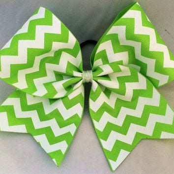 Practice Cheer Bow - Lime Green and White Chevron
