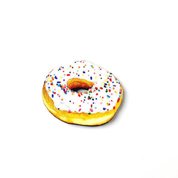 Wood Donut Brooch - Donut with Sprinkles, Donut Pin, Doughnut Brooch, Doughnut Pin, Food Jewellery, Donut Jewellery, Donut Jewelry