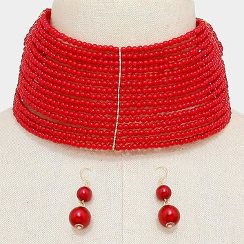 "14"" layered pearl bead 2.50"" wide choker collar bib necklace 1.60"" earrings"