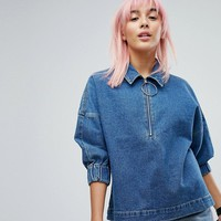 Noisy May Denim Smock Top With Ringpull at asos.com