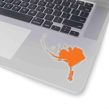Alaska State Shape Sticker ORANGE