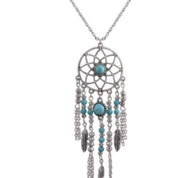 ac NOVQ2A Dream catcher necklace national wind chain tassel feather turquoise items Bohemian jewelry