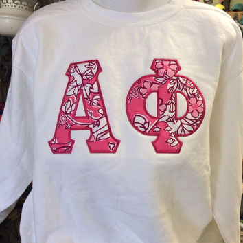 Alpha Phi Lilly Pulitzer fabric Letters Sweatshirt!