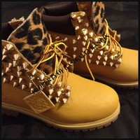 Spiked Wheat & Leopard Timberlands (Juniors Sizes 3.5-5)