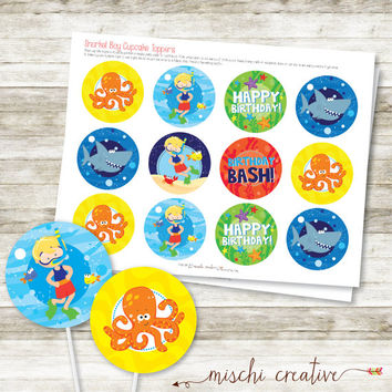 Snorkel Boy Birthday Bash Swim Party DIY Printable Cupcake Toppers
