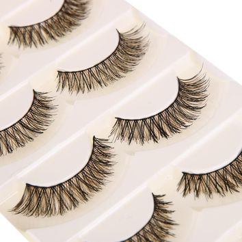 5 pairs Handmade Cotton Stalk Water Mink False Eyelashes Cross Messy Dense Natural Eye Lashes Stage Makeup False Eyelashes